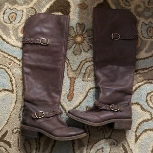 EUc over the knee lucky brand brown leather boots